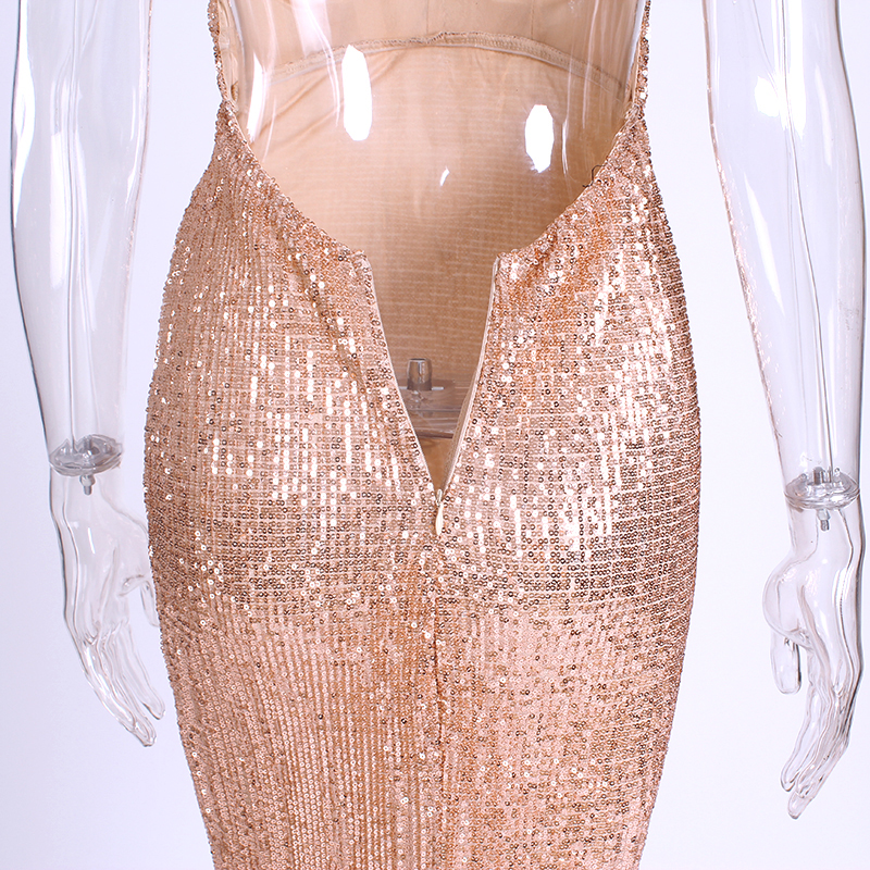 Sexy Shiny Sequin Party Dress Padded V Neck Open Back Full Lining Dress Stretch Floor Length Tight Package Hip Dress