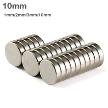 цена на 10/20/50/100pcs 10mm Super Powerful Strong Bulk Round NdFeB Neodymium Disc Magnets Dia 10mm thickness 1mm/2mm/3mm/10mm Magnet