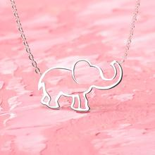 2019 new necklace silver elephant stainless steel charm ladies romantic cute birthday gift BFF