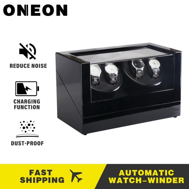 Relojes ONEON enrolladores 4 ranuras giran caja de reloj eléctrico reloj de visualización de Motor silencioso reloj automático de lujo caja de bobinadora de doble cabeza