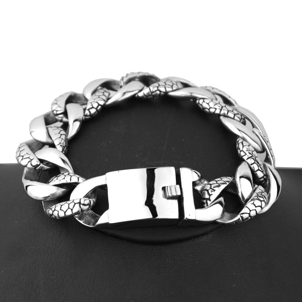 Men 39 s Bracelet Silver Curb Link Chain Wristband 316L Stainless Steel Bracelet For Male Jewelry Dropshipping Wholesale 18mm in Chain amp Link Bracelets from Jewelry amp Accessories