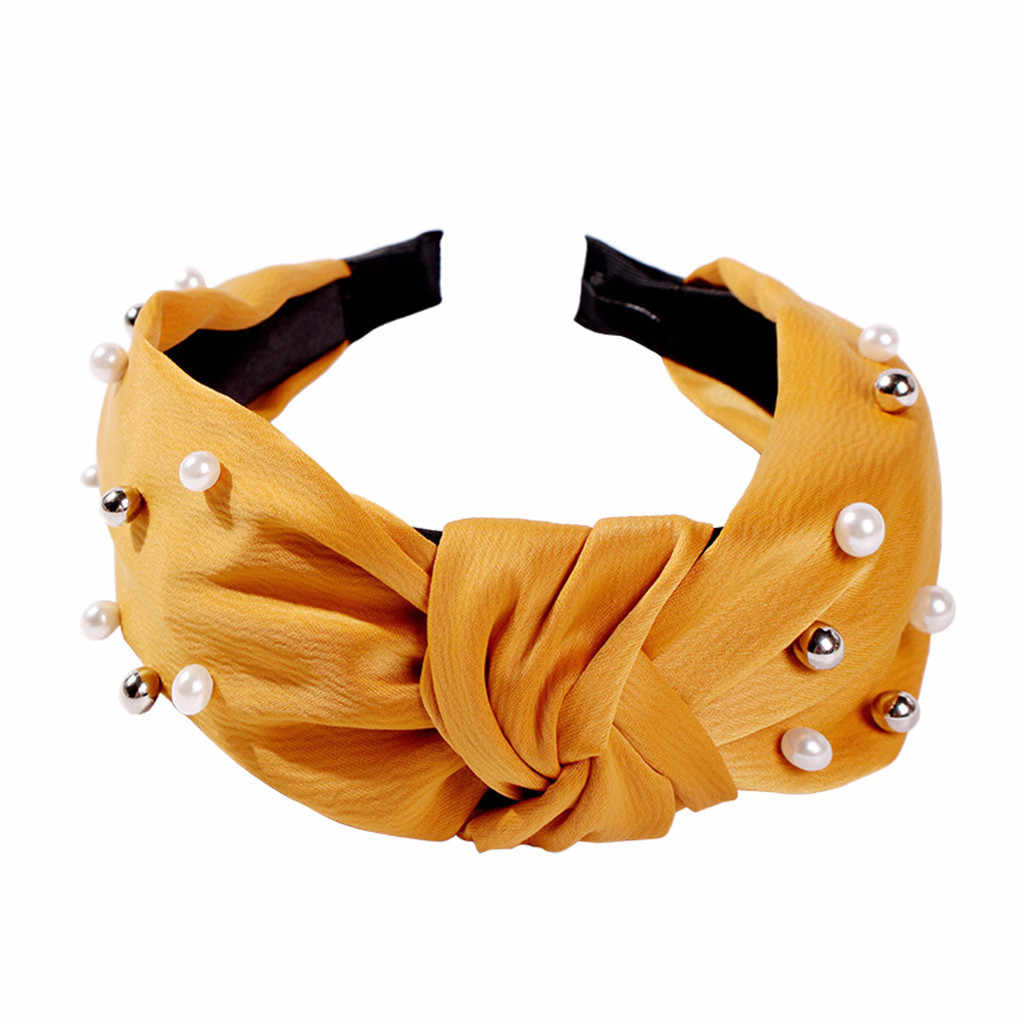 Pearl CROSS Knot ผู้หญิง Headband อุปกรณ์เสริมผม Hairband ผม Band เครื่องประดับวง Hoop สาวหวาน Turban