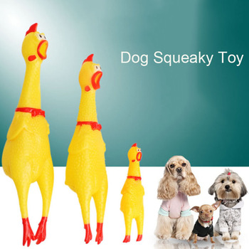 Screaming Chicken Pets Dog Toys Squeeze Squeaky Sound Safety Rubber For Dogs  3