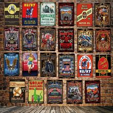 [ DecorMan ] Opaline GASOLINE Eagle SKULL Route 66 pin up TIN SIGN Custom wholesale Mural Paintings Bar PUB Decor LT-1863