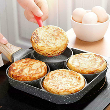 Pans 4 Hole Fried Egg Burger Pan Non-stick Ham Pancake Maker Wooden Handle Suitable For Gas Stove And Induction Cooker 2020 New