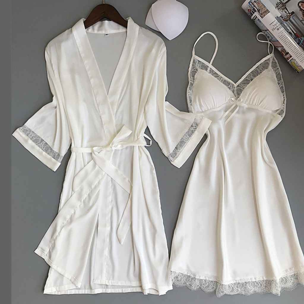 Sexy Women Rayon Nightdress Bathrobe Set Lace Trim Sleepwear Nightie Kimono Robes Bride Bridesmaid Wedding Robe Casual Home Wear