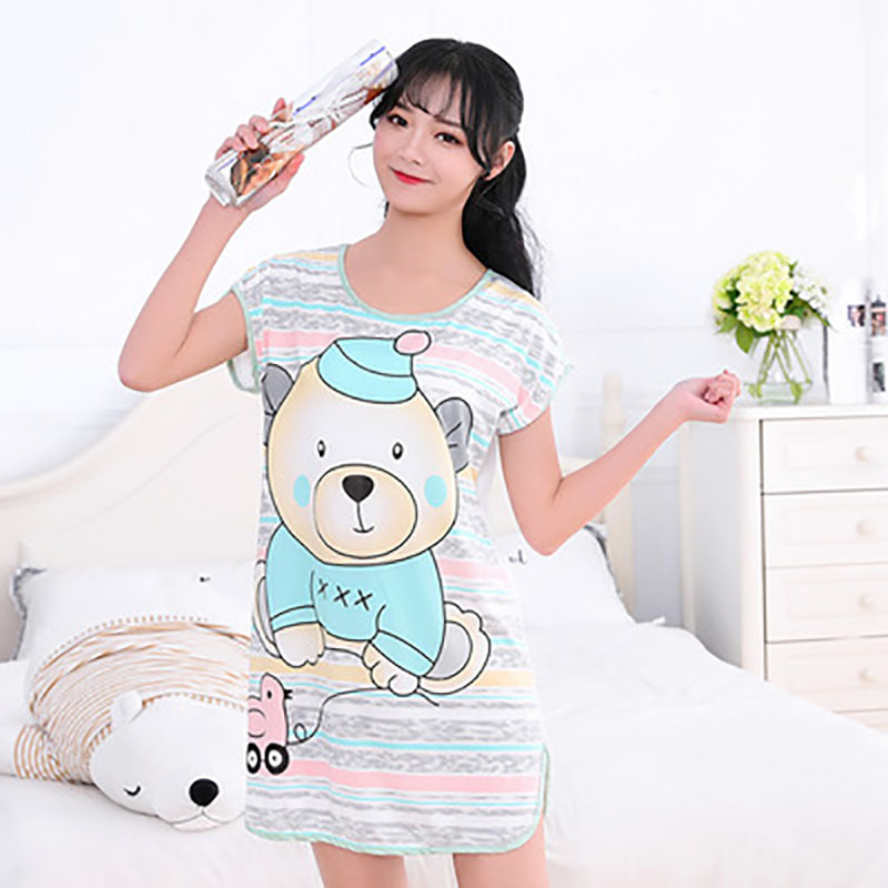 Sanderala Women Print Cartoon Sexy Sleepwear Round Neck Lingerie Cute Nightdress Strap Thin Female Underwear Nighty Home Wear