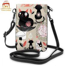 С кошкой, сумка через плечо с кошкой, кожаная сумка с кошкой, женские сумки с узором, трендовая сумка, высококачественный маленький кошелек