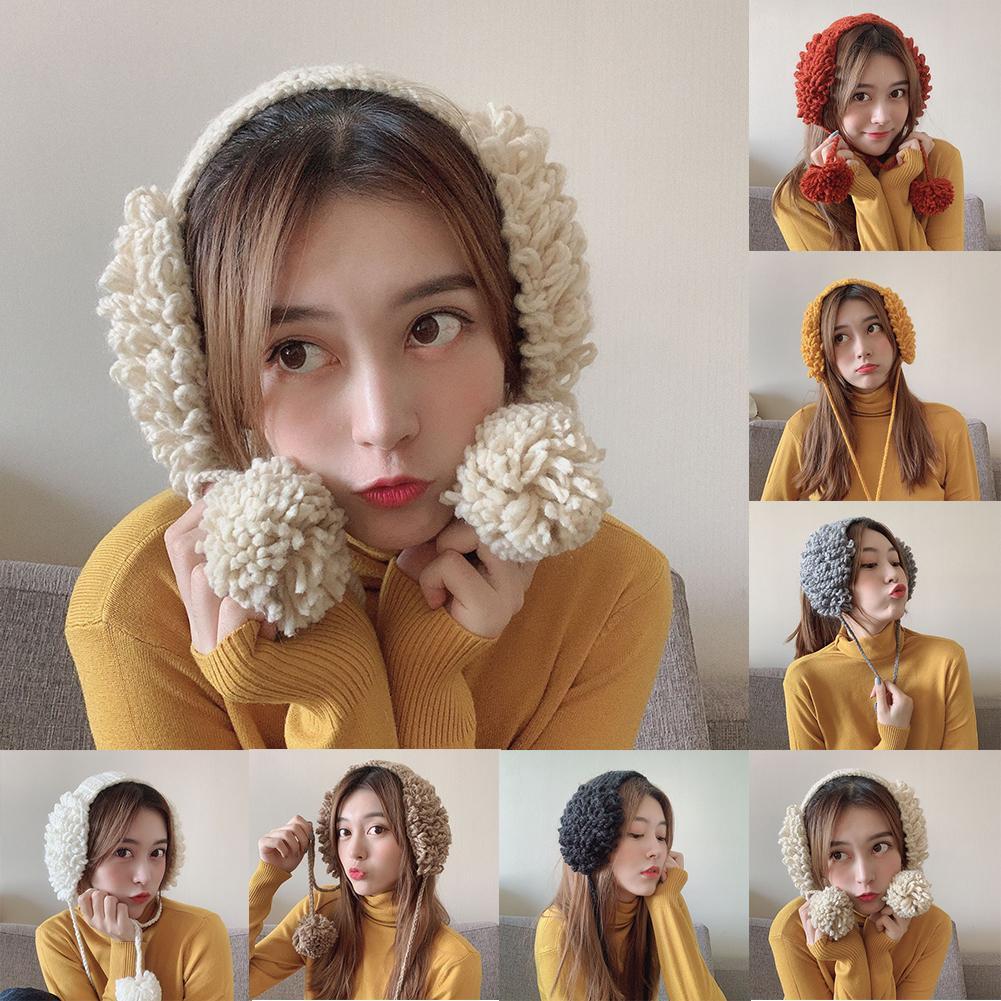 2020 Winter Fashion Women Cute Pompom Warm Woolen Knitted Ear Cover Earmuff Gift