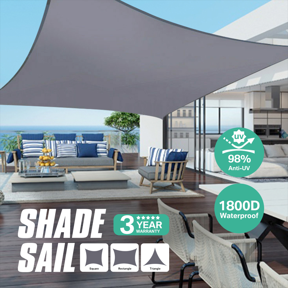 280GSM Grey Awnings Shade Sail Cloth Waterproof Oxford Garden Square/Triangle Sunshade 98%UV Protection Outdoor Canopy