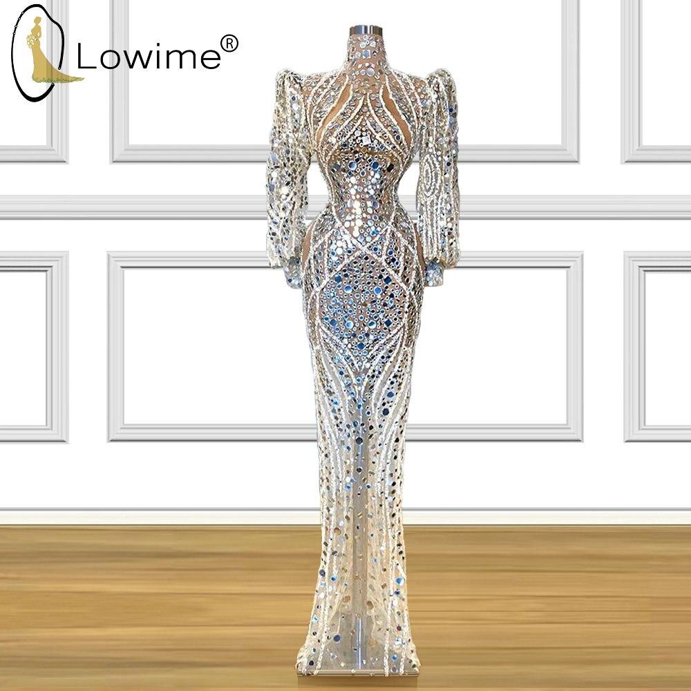 Dubai Sheer Luxury Beaded High Neck Evening Dresses Mermaid Muslim Long Sleeve Floor Length Prom Party Dresses Formal Dress
