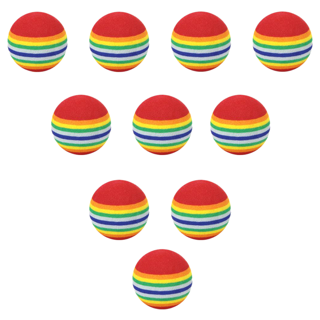 10pcs 35mm 38mm42mm EVA Foam Soft Rainbow Stripe Golf Training Balls Swing Club Beginner Practice Aids Ball Indoor