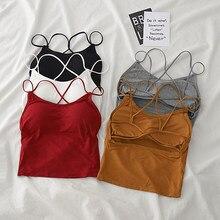 HELIAR-camisetas sin mangas con sujetador para mujer, ropa interior de algodón sólido para mujer, Tops de verano 2020