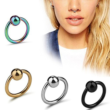 Lip Eyebrow Tragus Earrings Unisex CBR Piercings Captive Bead Rings Nose Piercing Ear Cartilage Rings Earring Piercing Jewelry image