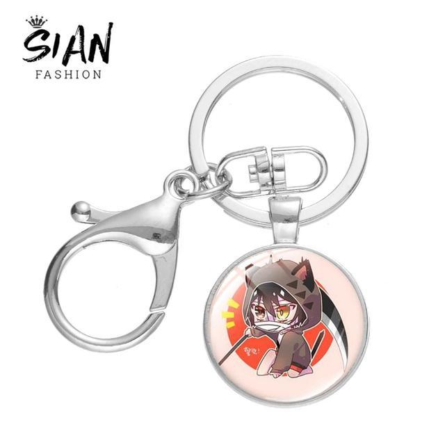 SIAN Anime Angels of Death Keychain Cartoon Figure Satsuriku No Tenshi Foster Isaac Glass Cabochon Lobster Clasp Key Chain Gift