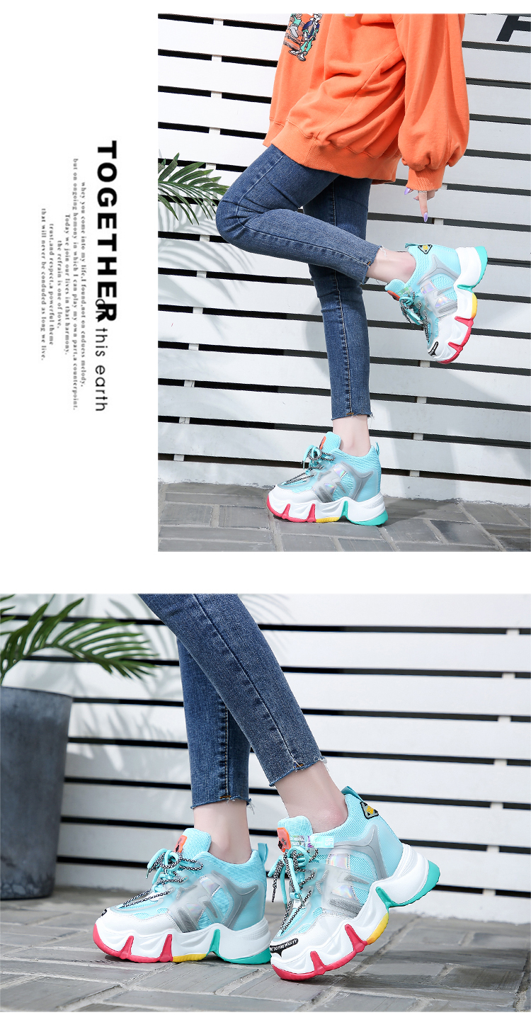 New Women Chunky Sneakers 2020 Summer Platform Sneakers Ladies Brand Wedges Casual Shoes For Woman Leather Sports Dad Shoes 9CM