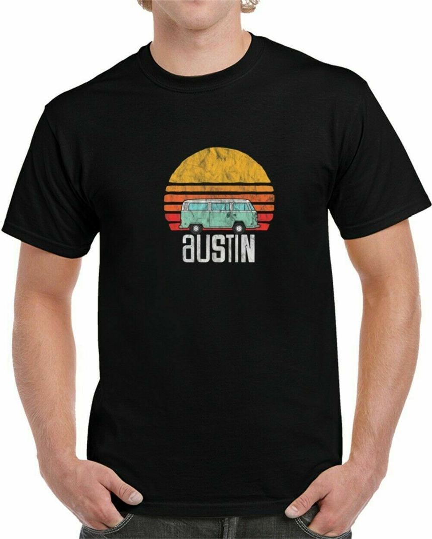 New Austin, Texas - Vintage Hippie Van Road Trip T-Shirt Usa Size Em1  Classic Custom Design Tee Shirt image