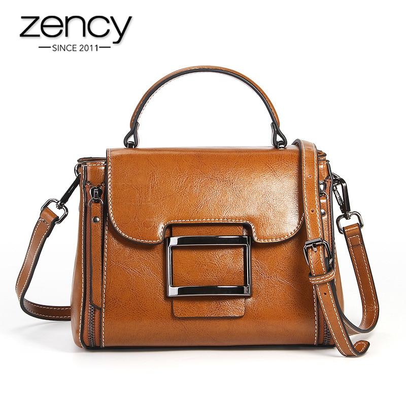 Zency 100% Genuine Leather Vintage Brown Women Handbag Vocation Messenger Shoulder Bags Daily Casual Tote High Quality Black Bag