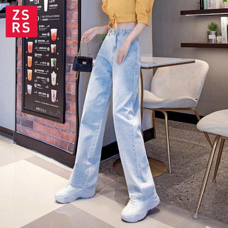 High Street Women Denim Blue Jeans Trousers Plus Size 32 Femme Pantalon High Waisted Loose Wide Leg Pants Big Sizes 2019 New