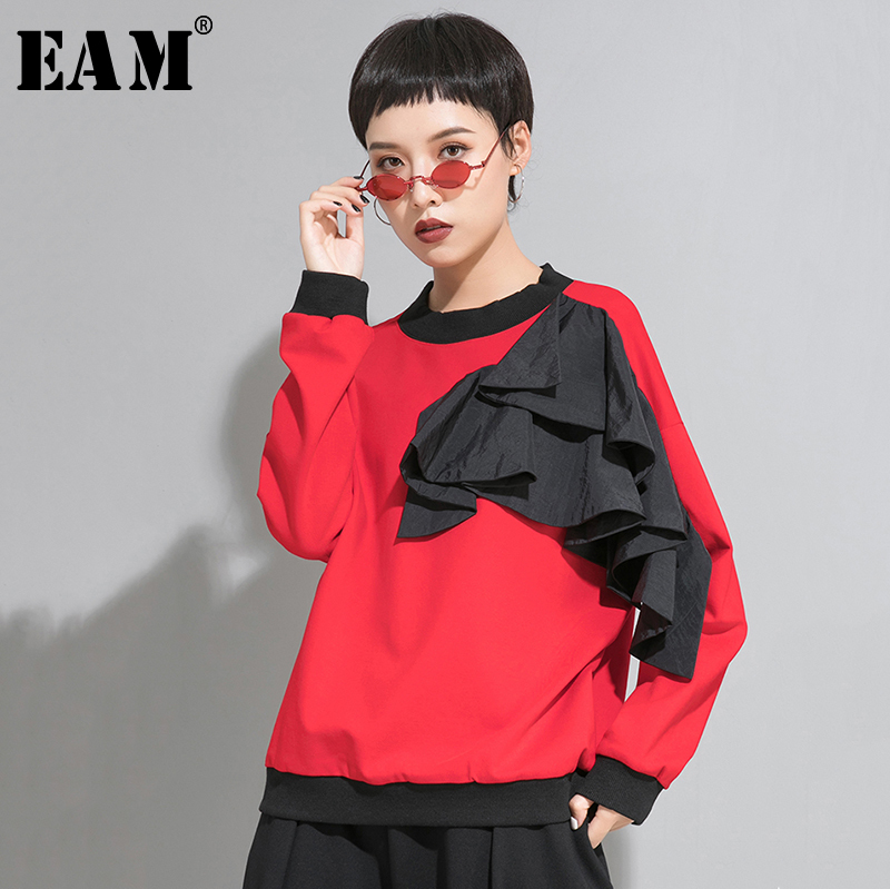 [EAM] Women Loose Fit Mesh Ruffle Spliced Big Size T-shirt New Round Neck Long Sleeve Fashion Tide Spring Autumn 2020 1A937 1