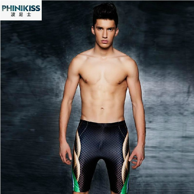 PHINIKISS Men's 2015 New Style Racing Body Hugging Large Size Knee-Length Boxer Short Anti-Chlorine Swimming Trunks