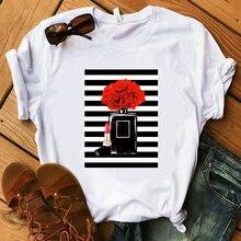 Парфюмер, Цветочная полосатая футболка, женская футболка, летняя рубашка, Женская Роскошная брендовая уличная футболка, Топы, графические футболки для женщин, Kawaii
