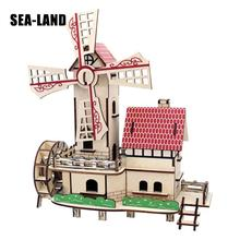 Kids Toys Laser Cut Wooden 3D Puzzle For Children Lucky Windmill Montessori Educationaly Diy Toy Challenge IQ Gift Kids Or Adult