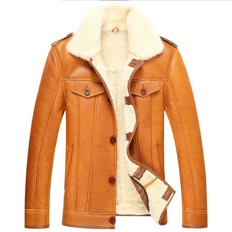 New Arrival Genuine Leather Jacket Men Original Ecological Thickening Fur One Leather Coat Lamb Fur And Sheep Leather Maxi Coat
