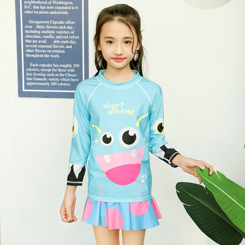 2018 Sbart New Style Casual Beach Skirt Girls Children's Cartoon Long Sleeve Two-piece Swimsuits