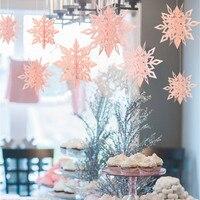 Guirnalda de papel 3D de copos de nieve artificiales, decoración de Navidad de fiesta de Frozen para el hogar, boda, cumpleaños, bricolaje, decoración hecha a mano para el hogar