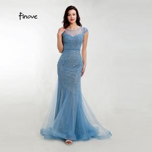 Image 4 - Akşam elbise zarif Mermaid 2020 gölgeli mavi Sparkly malzeme O boyun kap kollu tam boncuklu resmi kadın elbise Finove