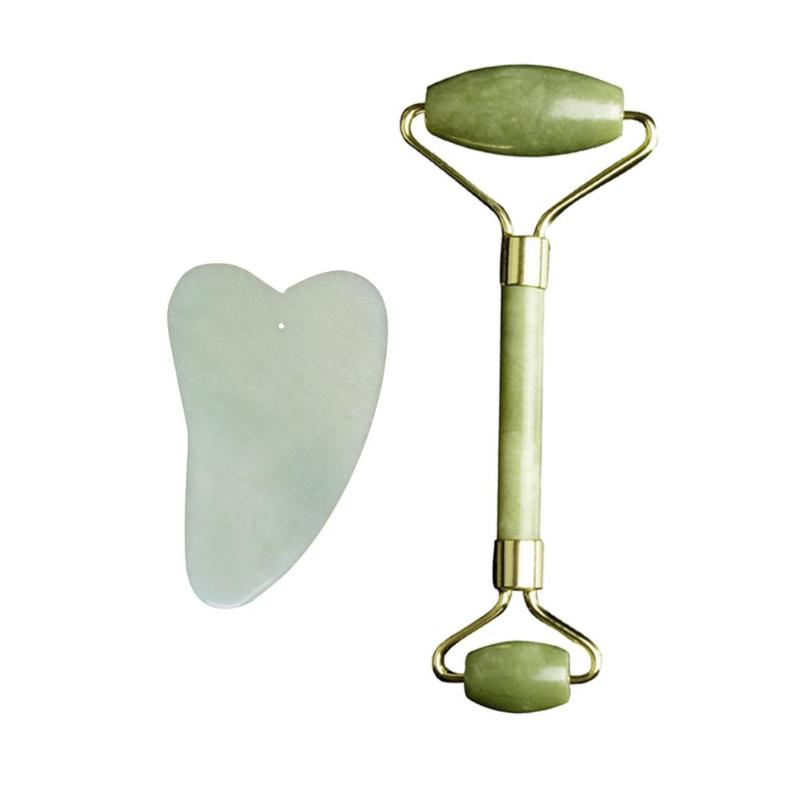 2pcs Natural Jade Massage Facial Roller Guasha Board Face Jade Stone Roller Beauty Massage Tool Face Lift Massager Skin Care
