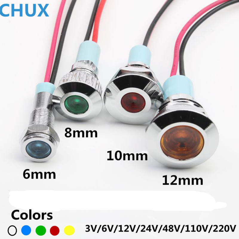 6mm 8mm 10mm 12mm metalowa lampka kontrolna LED wodoodporna typ 3v 5V 6V 12V 24V 48V 110V 220v z przełącznikiem lampka sygnalizacyjna
