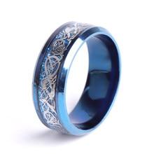 Moda azul anel de carboneto de tungstênio dragão azul fibra de carbono masculino anel para casamento feminino amante clássico casal anéis