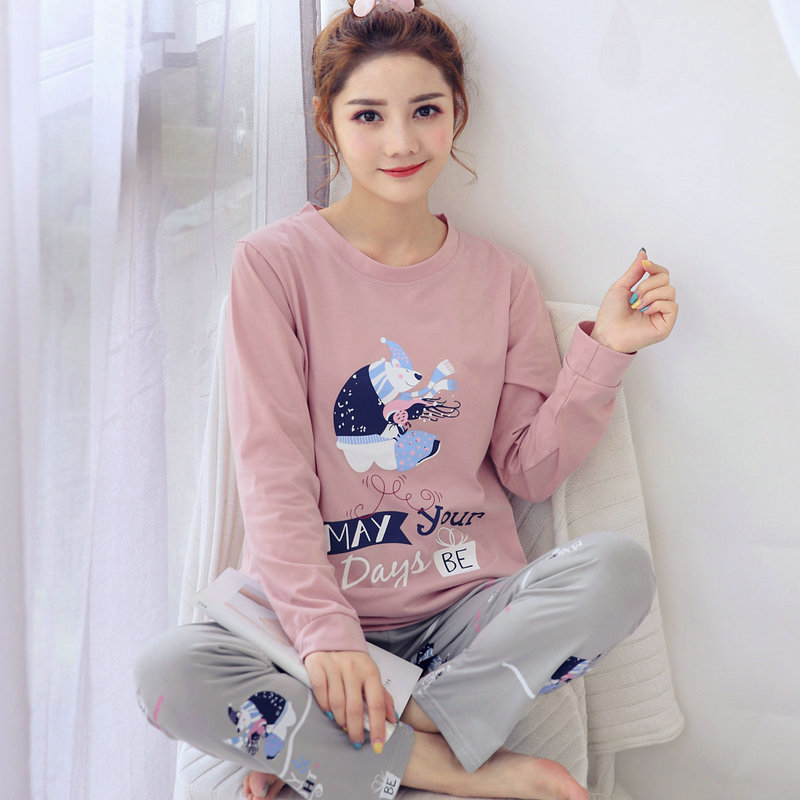 2020 Spring Summer New Coming Pajamas For Women 100% Cotton Long Sleeve 2 Pcs Pyjamas For Girl Comfortable Sleepwear