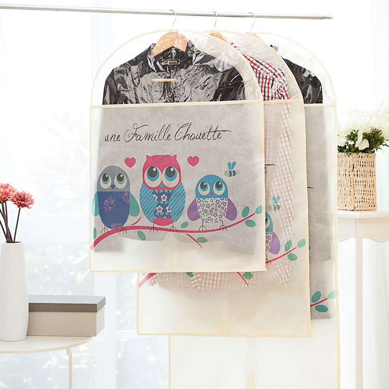 Cartoon Printing Non-woven Fabric Clothes Dust Cover Home Storage Bag Garment T-shirt Coat Wardrobe Organizer 1pcs AHO001