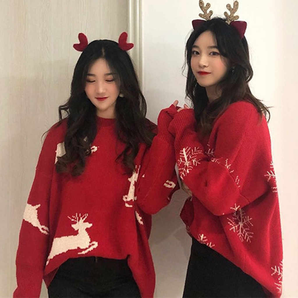 Christmas Women Sweater Santa Claus Reindeer Printed O-neck Long Sleeve Women Pullovers Winter Jumpers Knitwear Sweater