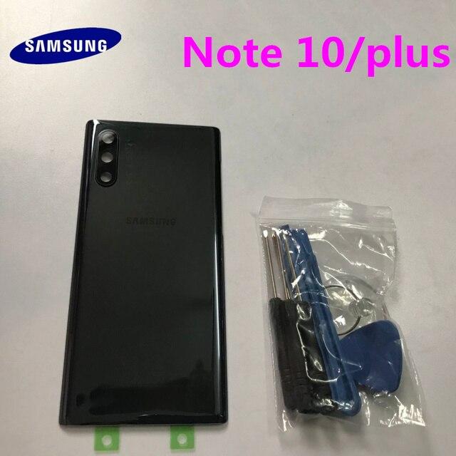 Arka Panel pil cam arka kapı kapak Samsung Galaxy not için 10 N970 NOTE10 artı N975 N975F ön yapışkan çıkartmalar + araçları