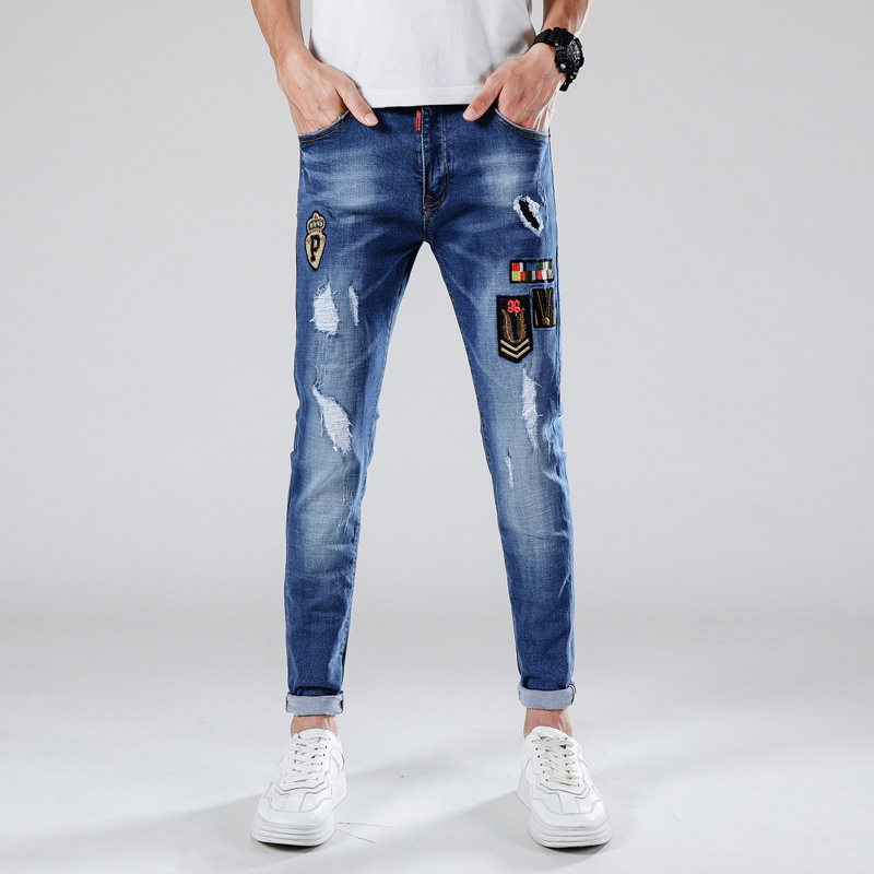 Jeans Men, Spring Summer, Slim Fit, With Holes, Applique, Embroidered, Youth Popularity, Popular Brand, Cowboy Trousers