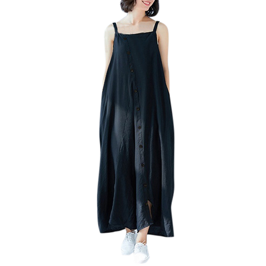 Women Jumpsuits Wide Leg Bib Pants Onesies Cotton Line Summer Loose Rompers Long Pant Sleeveless Overalls Jumpsuit Casual Button