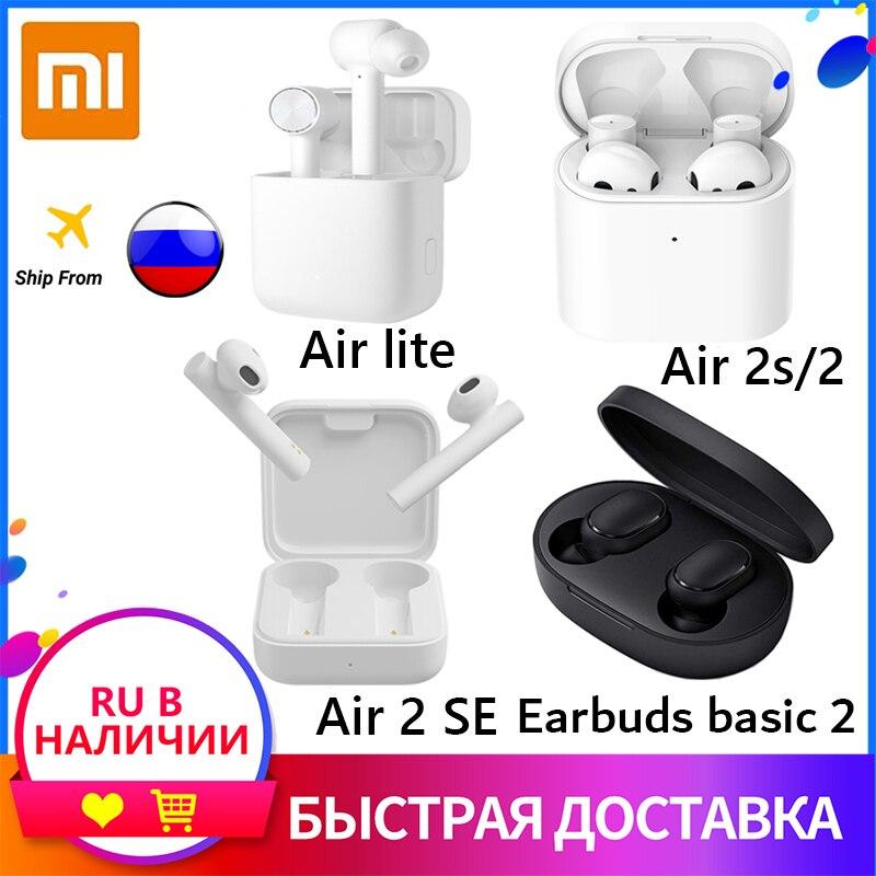 Официальный Xiaomi наушники Mi Air 2s/2se/Redmi наушники basic 2 Наушники-вкладыши TWS Беспроводные наушники с микрофоном, 20-20000 амплитудно-частотная харак...
