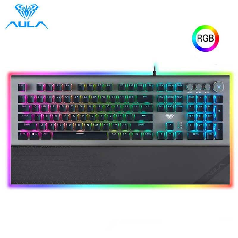AULA L2098 mekanik klavye kablolu oyun klavyesi siyah/mavi anahtarı RGB Mix arkadan aydınlatmalı anti-laptop kristal PC için dizüstü bilgisayar oyunu