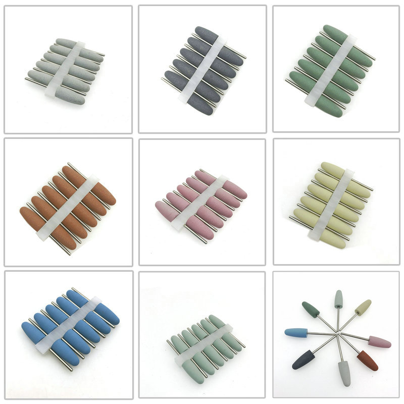 10pcs Silicone Rubber Dental Polishing Polisher Grinders Nail Drill Bits For Electric Manicure And Oral Intial Polishing Burs