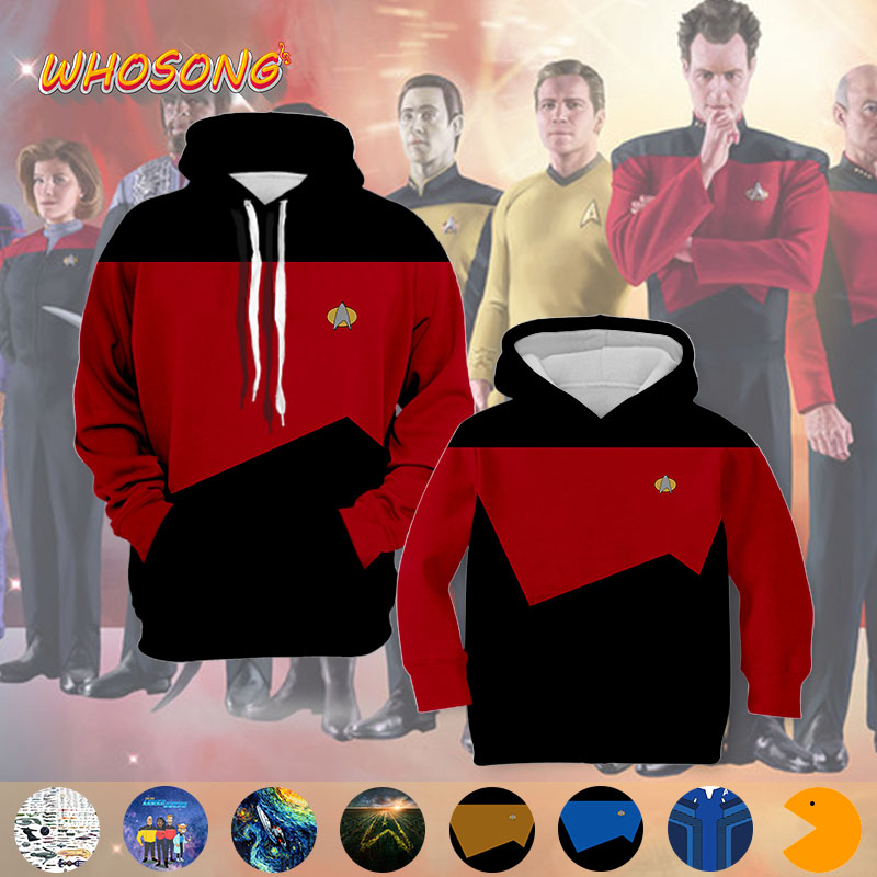 WHOSONG 3D Hoodie Star trek Cosplay Uniform Family Funny Clothes Off White Thin Hoody New Arrival Promotion Boys Special Costume(China)