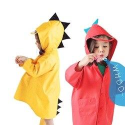 Bonito poliéster crianças capa de chuva dos desenhos animados dinossauro à prova de chuva crianças casaco de chuva meninos meninas poncho à prova dwaterproof água do bebê capa de chuva