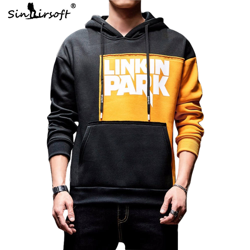 2019 Men's Linkin Park Letter Printed Patchwork Hooded Sweatshirt Male Skinny Streetwear Fashion Full-length Hoodies Clothing