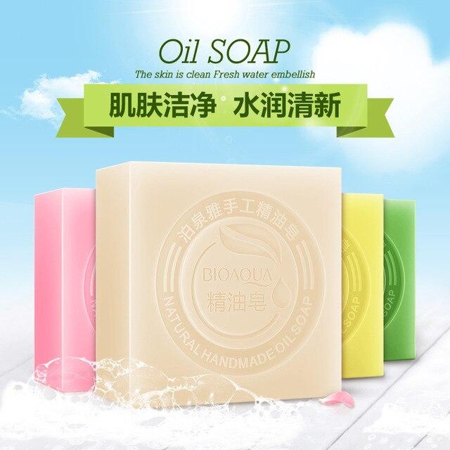 BIOAQUA Natural Organic Herbal Essential Oil Soap Whitening Handmade Soap Skin Remove Acne Deep Cleansing Face Hair Care Bath 2