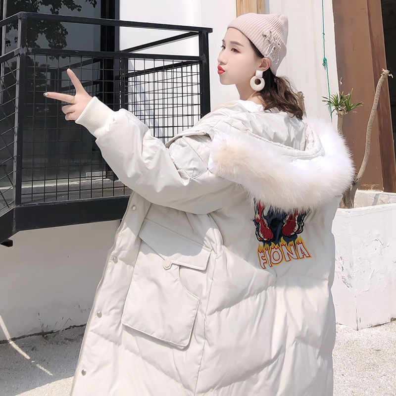Pinghu Fashion Pocket Female   Down   Garment 2019 Pisces Loose and Thickened White Duck   Down     Coat   Female Suit