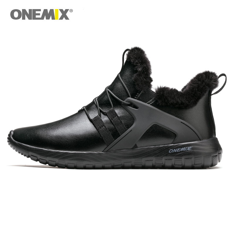 ONEMIX Man Running Shoes for Men Black Winter Snow Boots Wool Leather Jogging Trail Sneakers Outdoor Sport Trekking Trainers