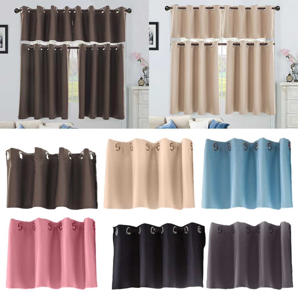 Solid Blackout Short Valance Curtains Kitchen Window Tier Treatment Decor 6 Colors and 2 Sizes Available